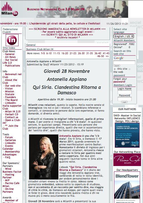 QuiSiria presentazione al Business Club MilanIn - 28 novembre 2013