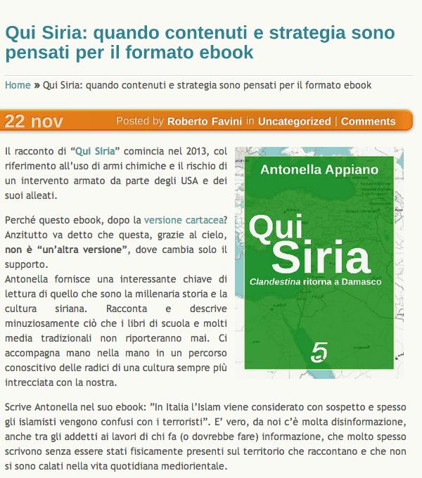 QuiSiria recensione Roberto Favini su MyWeb2.0