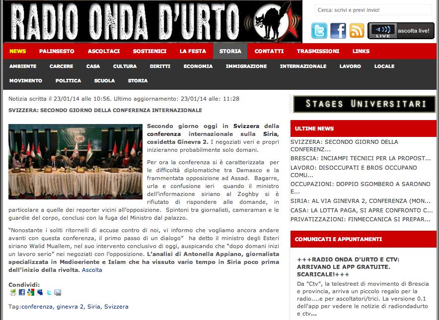 Radio Onda d'Urto intervista Ginevra2 -22 gennaio 2014