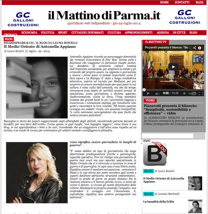 il Medio Oriente di Antonella Appiano - il Mattino di Parma - 24 luglio 2014