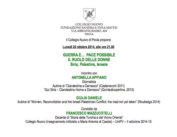 Guerra e... Pace Possibile - il ruolo delle donne - Antonella Appiano - Mazzucotelli - Pavia - 20 ottobre 2014