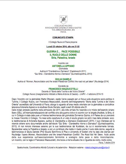 Guerra e... pace possibile, il ruolo delle donne - Pavia - 20 ottobre 2014